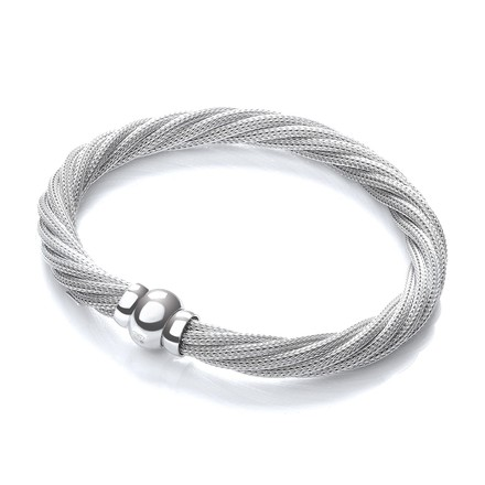 Selling: Twist Rh.Plated Mesh Bracelet