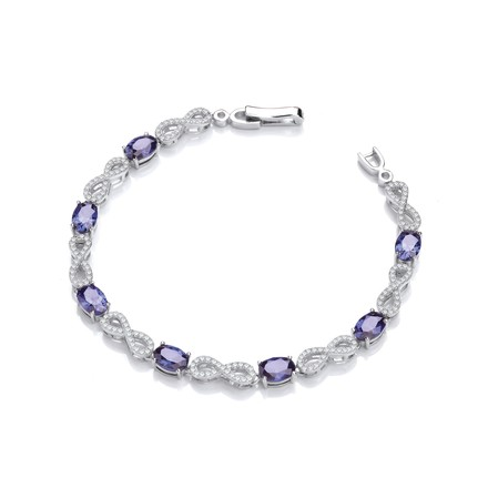 Selling: Infinity with Sapphire Blue Cz's Tennis Silver Bracelet