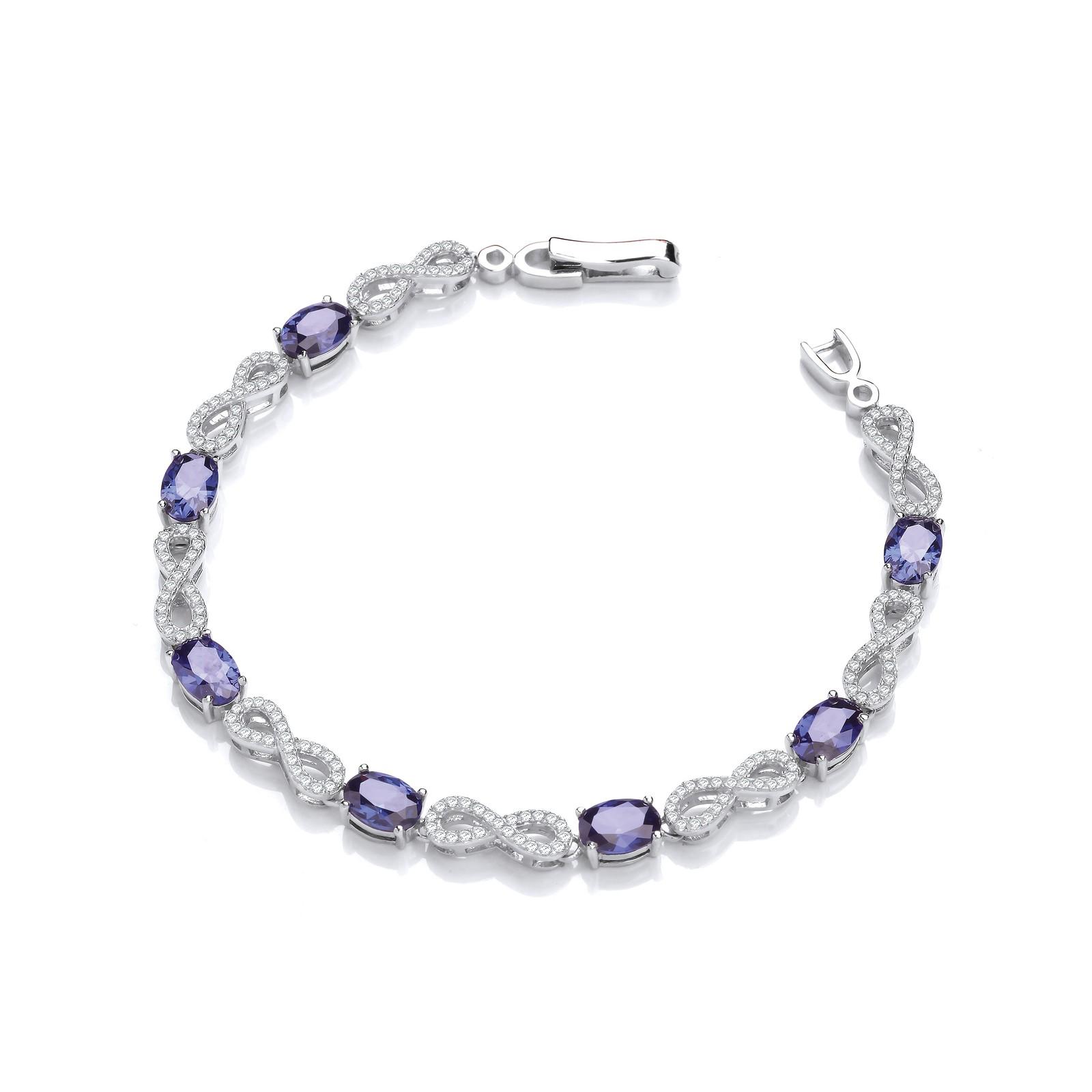 Infinity with Sapphire Blue Cz's Tennis Silver Bracelet