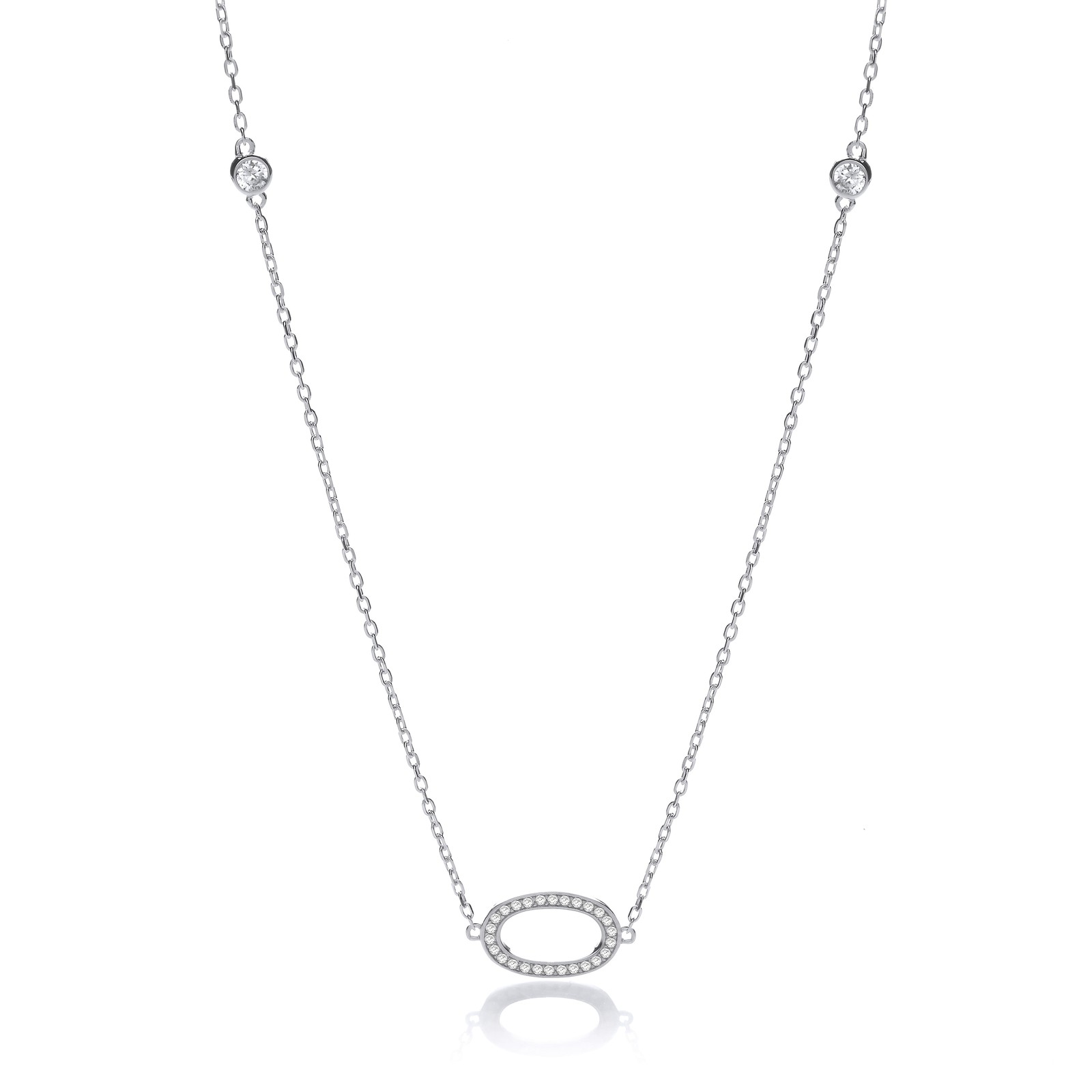 """Silver Diamond by the Yard Cz Style 36"""" Necklace"""