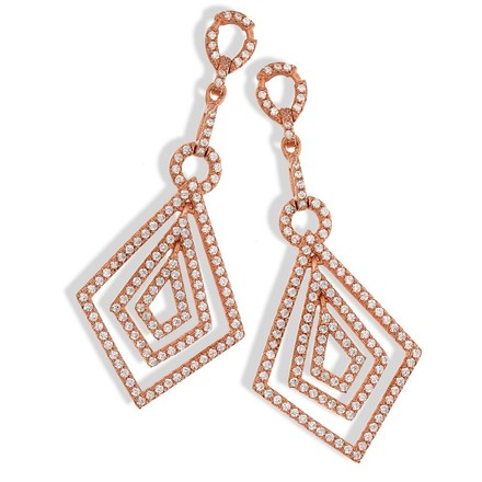 Selling: Micro Pave  Rose Coated  Fancy Drop Cz Earrings
