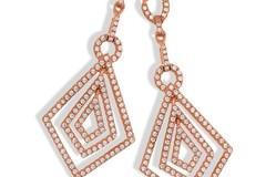 Micro Pave  Rose Coated  Fancy Drop Cz Earrings