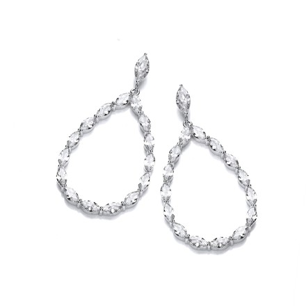 Selling: Pear Shape Drop with Marquise Cz Silver Earrings