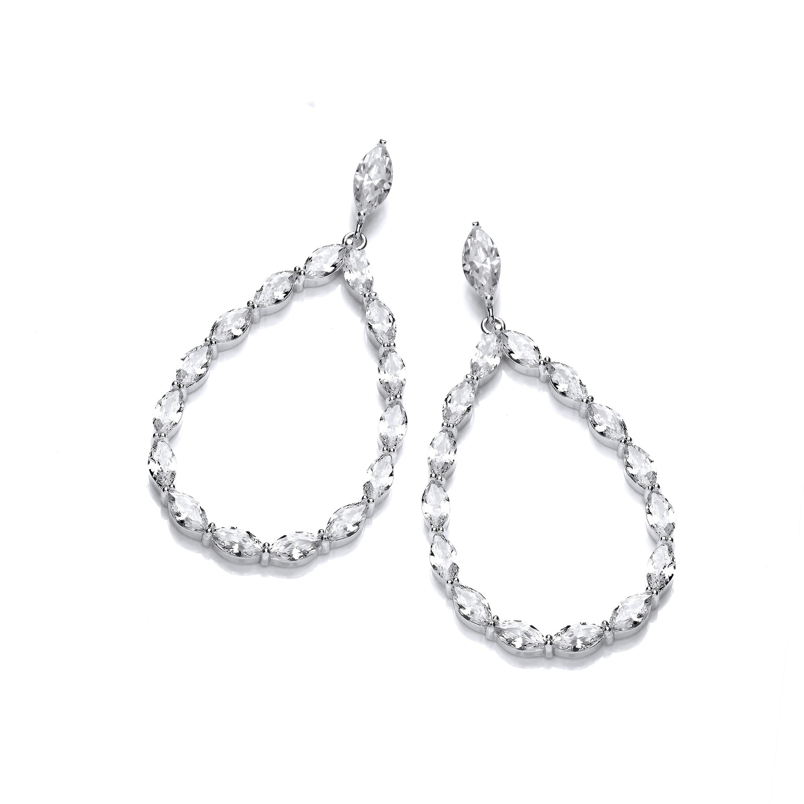 Pear Shape Drop with Marquise Cz Silver Earrings