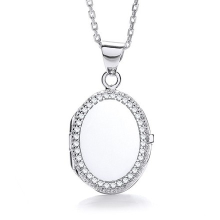 Selling: Oval Shape with Thin Line of Cz's Locket