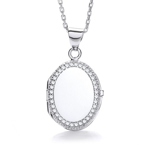 Oval Shape with Thin Line of Cz's Locket