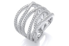Micro Pave' Six Rows of Clear Cz Ring