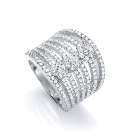 Micro Pave' Seven Row Cz 's Ring