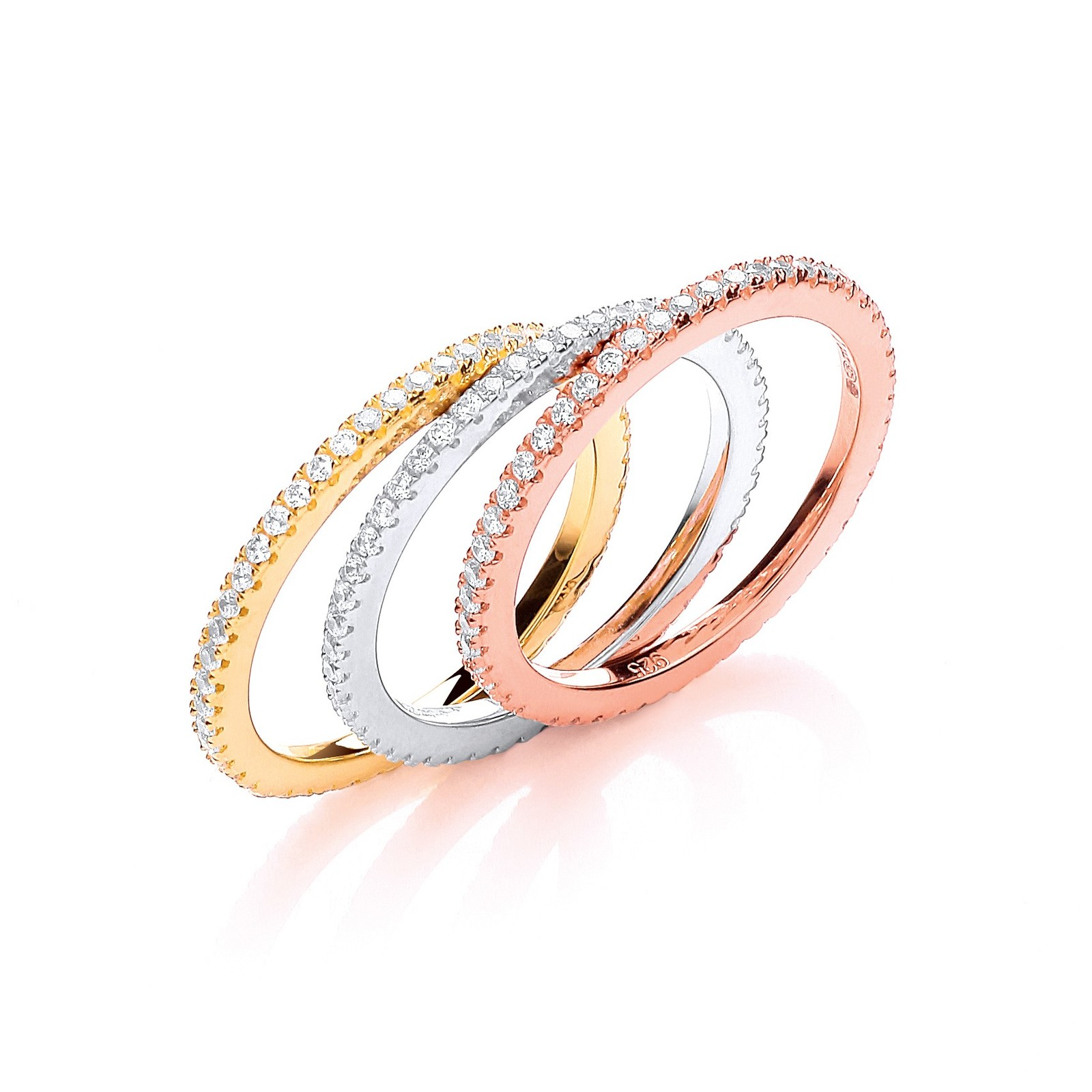 Micro Pave'  W/Y/R Full ET Cz Ring