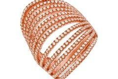 Micro Pave' Rose Coated & Silver 12 Row's of Cz Ring