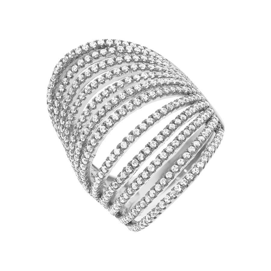 Micro Pave' 12 Row's of Cz Silver Ring