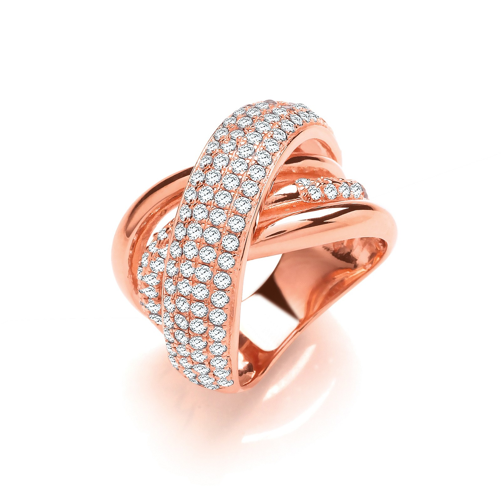 Rose Coated Large Intertwined Design Silver Cz Ring