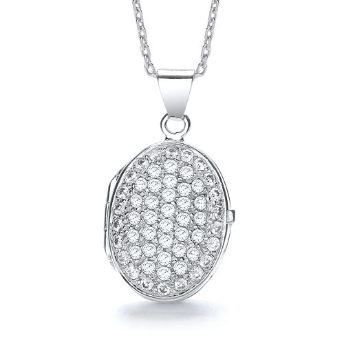 Oval Shape All Cz's on Front Locket