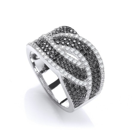 Micro Pave' Black & Clear Cz Ring