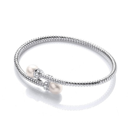 Selling: Cross Over Wire Bangle with Fresh Water Pearls and Cz's