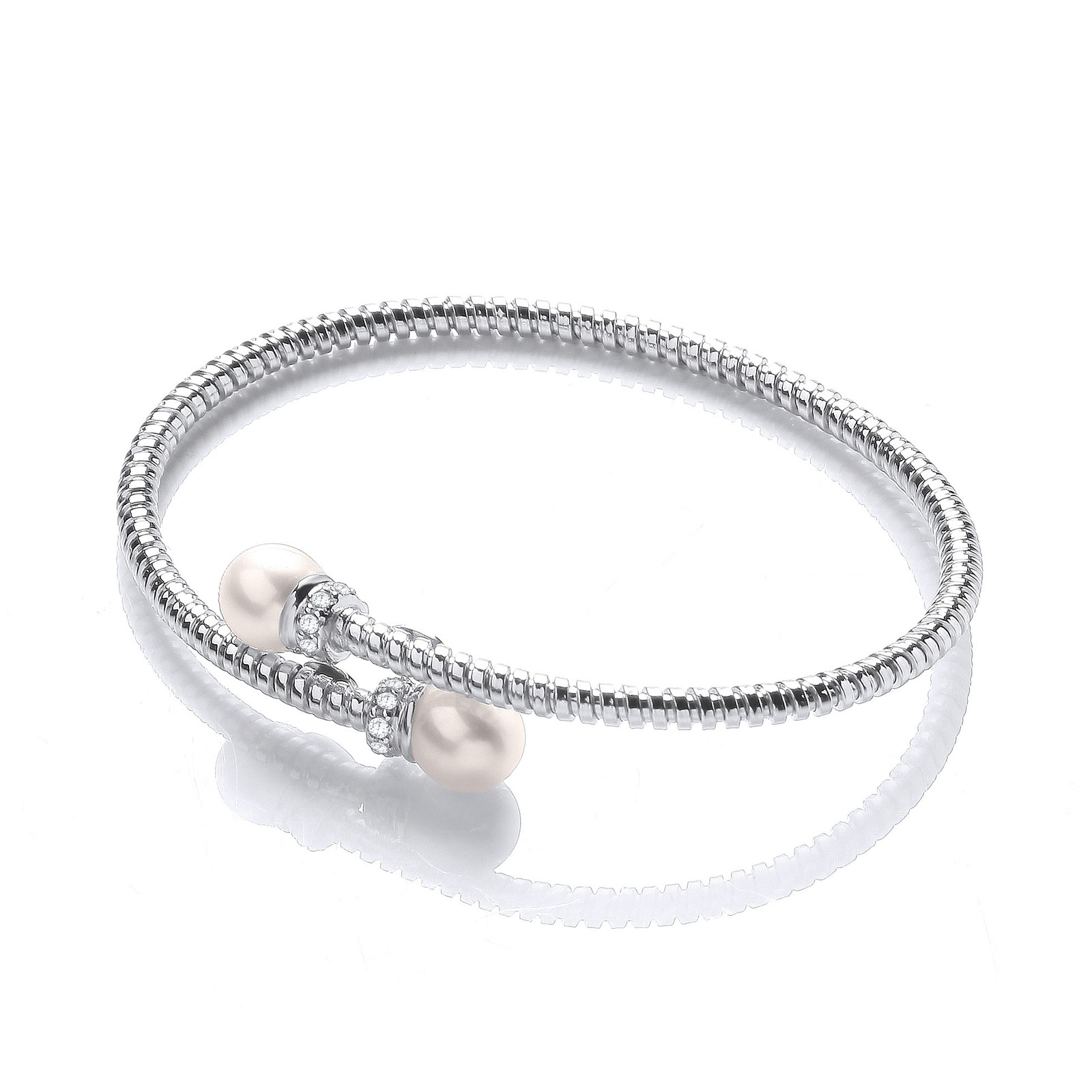 Cross Over Wire Bangle with Fresh Water Pearls and Cz's