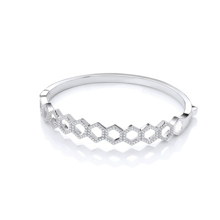 Selling: Honeycomb Style Cz Silver Bangle