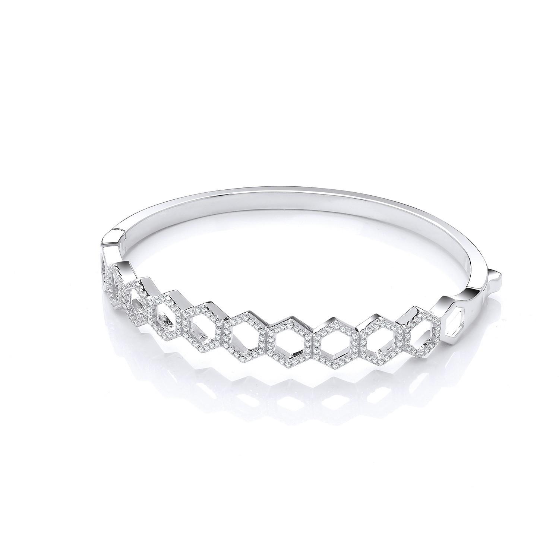 Honeycomb Style Cz Silver Bangle