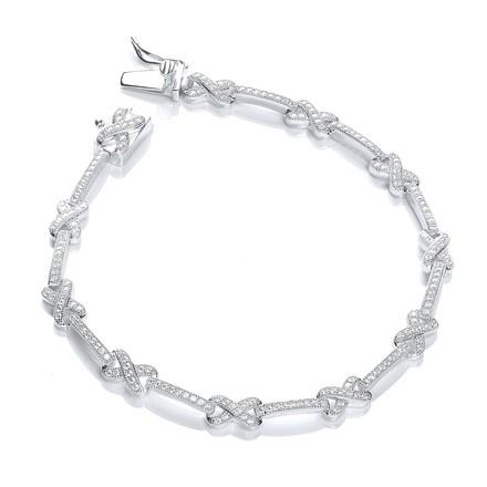 """Micro Pave' Kisses 200 Cz Bracelet 7""""/18cm"""