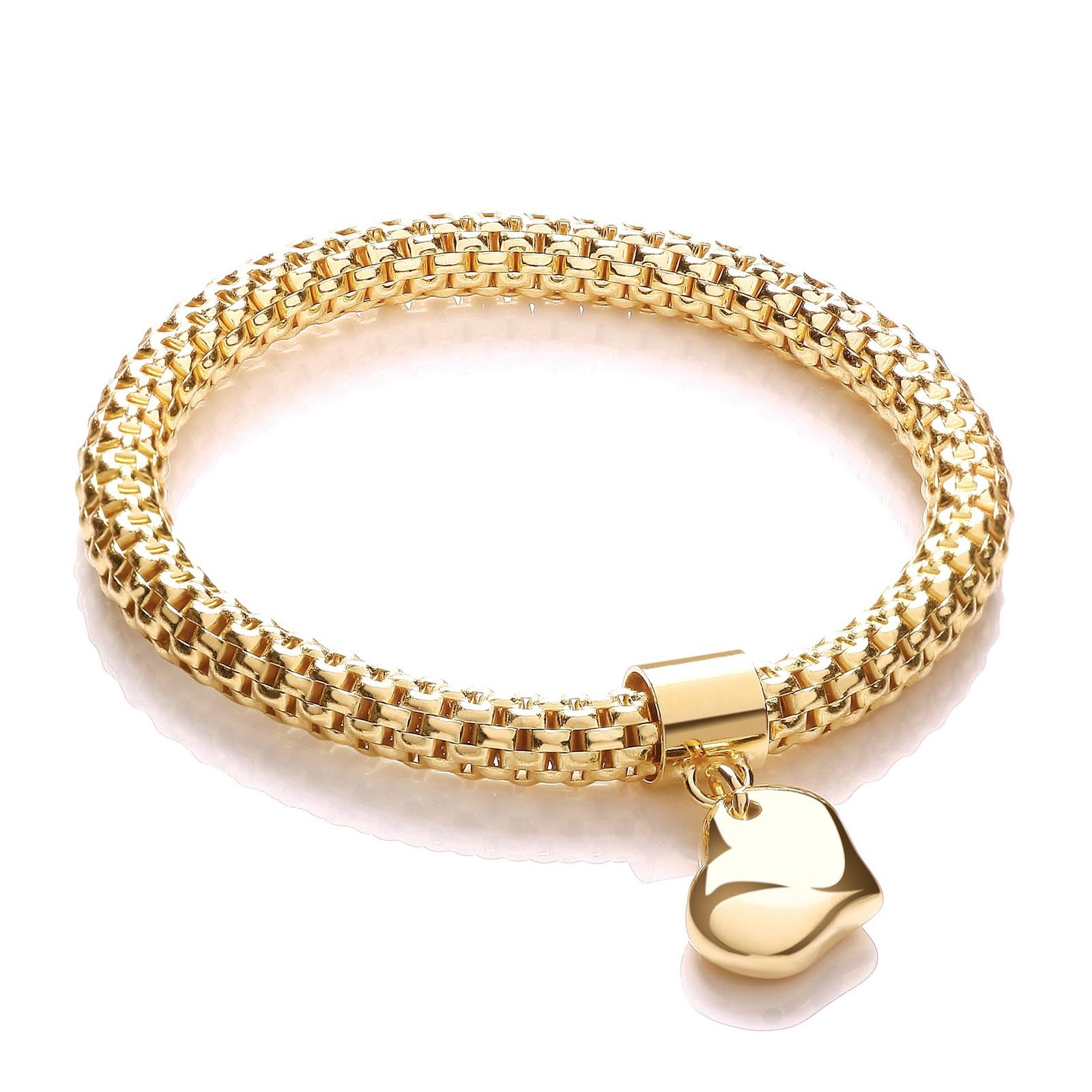 Yellow Mesh with Heart Pendant - Fancy Bracelet