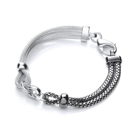 Ruthenium & Silver Mesh Bracelet