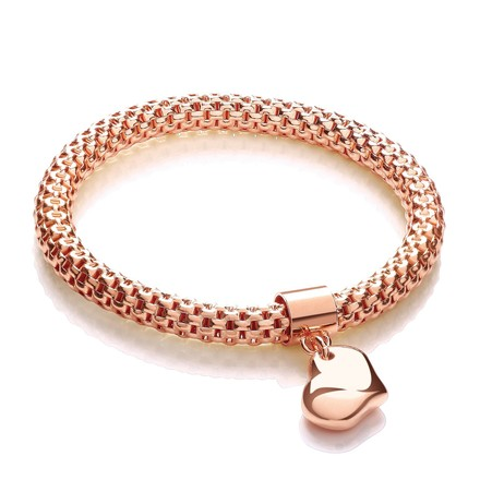 Rose Mesh with Heart Pendant - Fancy Bracelet