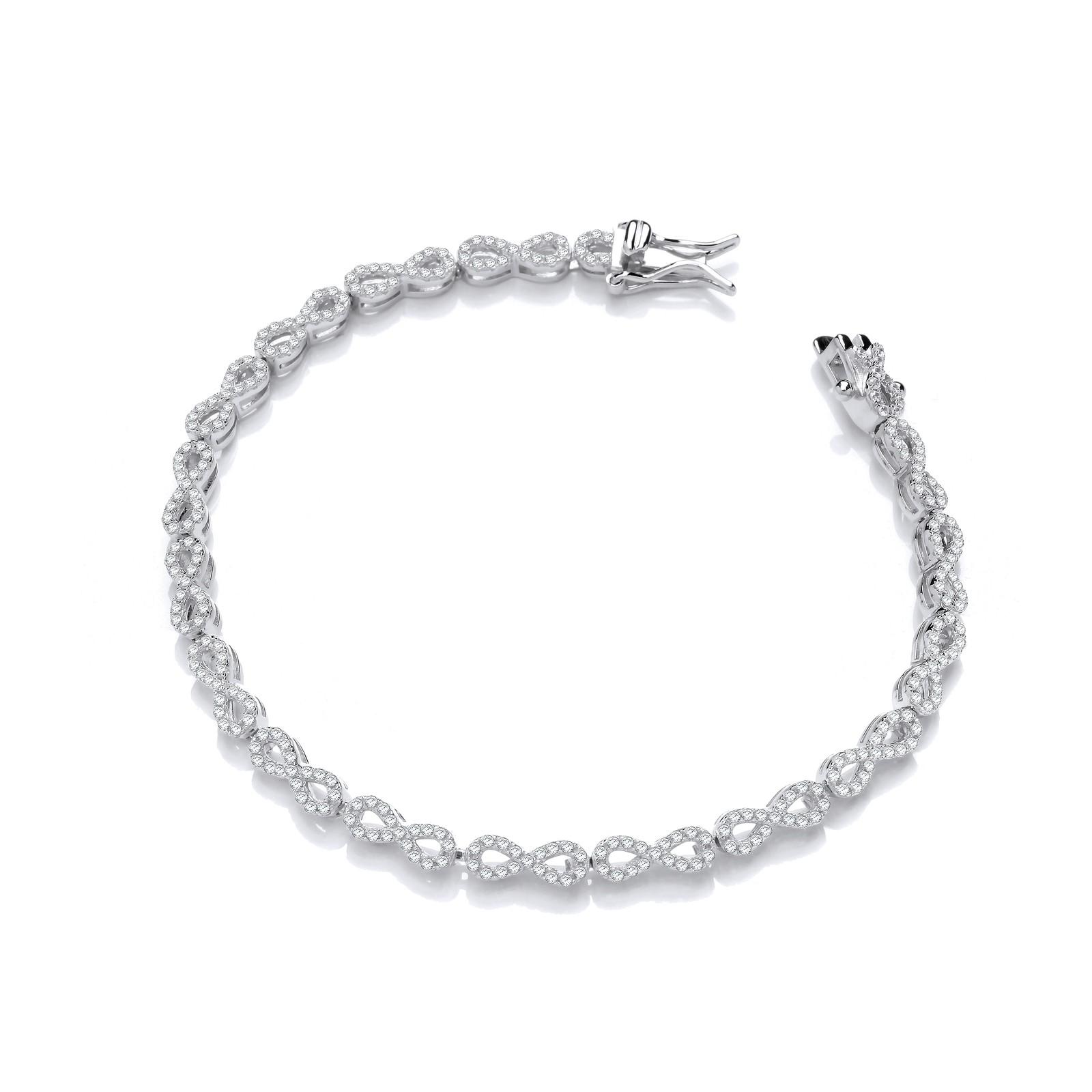 Infinity Tennis Silver Cz Bracelet