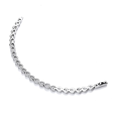 Selling: Silver CZ's Teardrop Link Ladies Bracelet