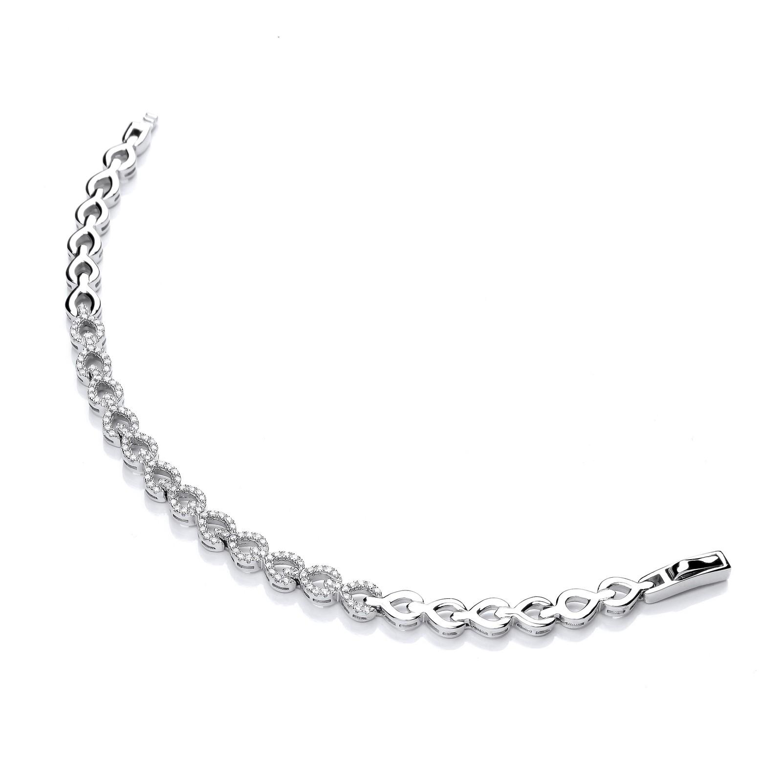 Silver CZ's Teardrop Link Ladies Bracelet