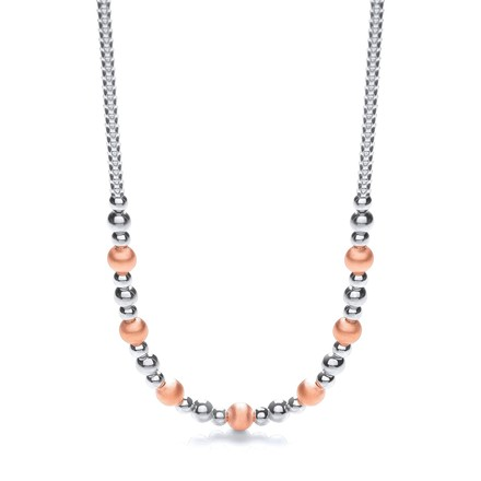 "Selling: Silver & Rose Plated Beads Necklace 17""/43cm"