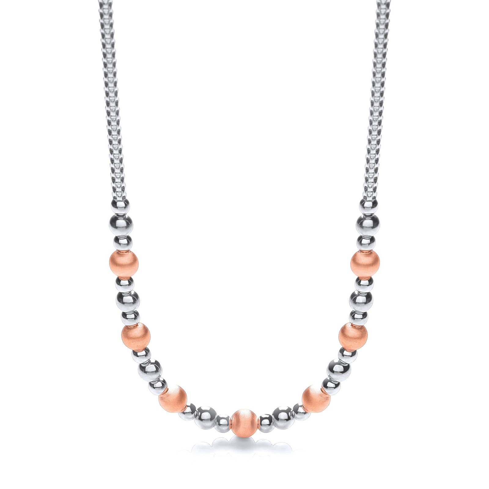 """Silver & Rose Plated Beads Necklace 17""""/43cm"""