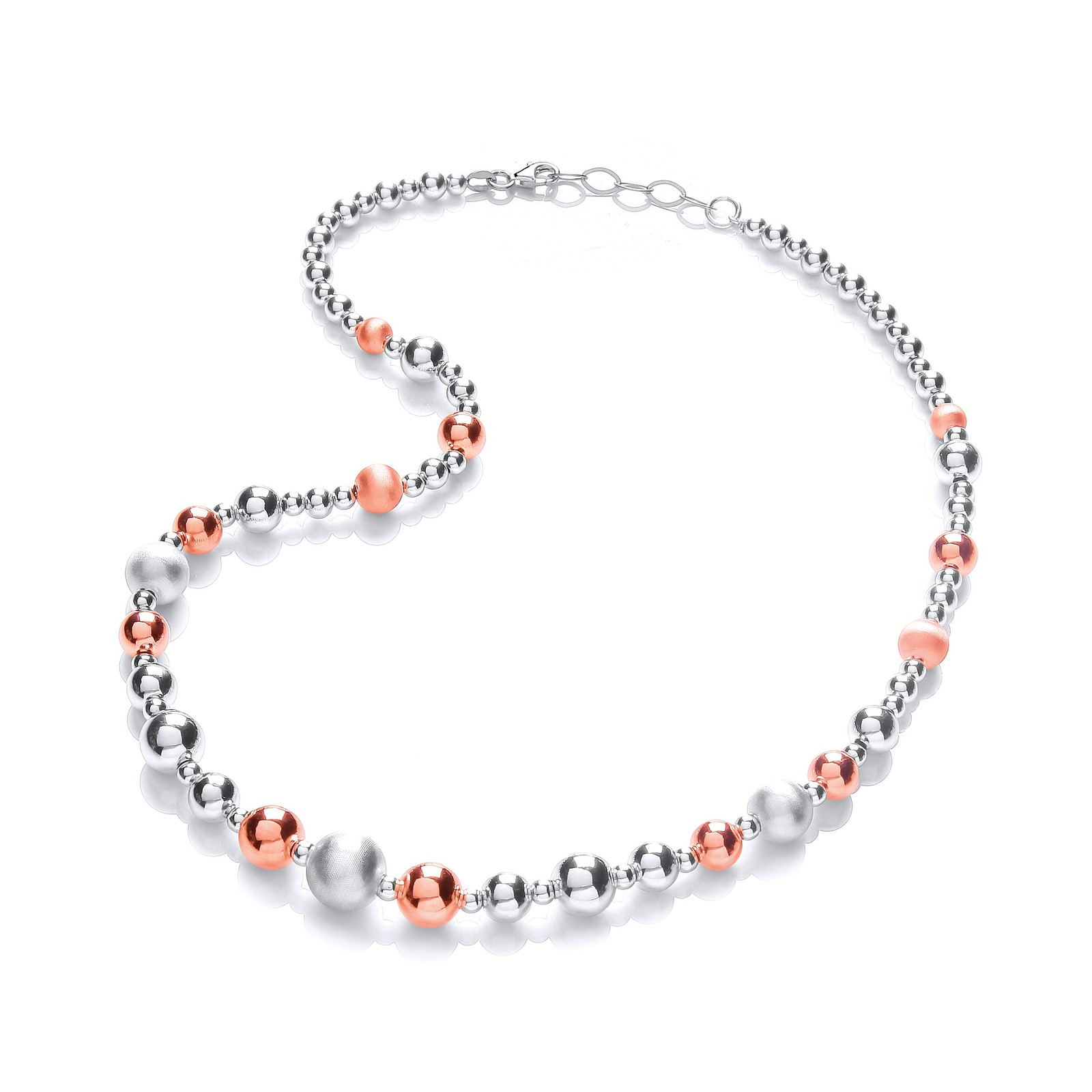 Silver & Rose Plated Graduated Beads Necklace