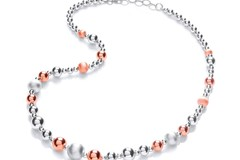Selling: Silver & Rose Plated Graduated Beads Necklace
