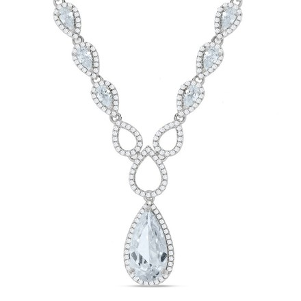 Selling: Silver Pear Shaped Drop Set Cz's Necklace 18""