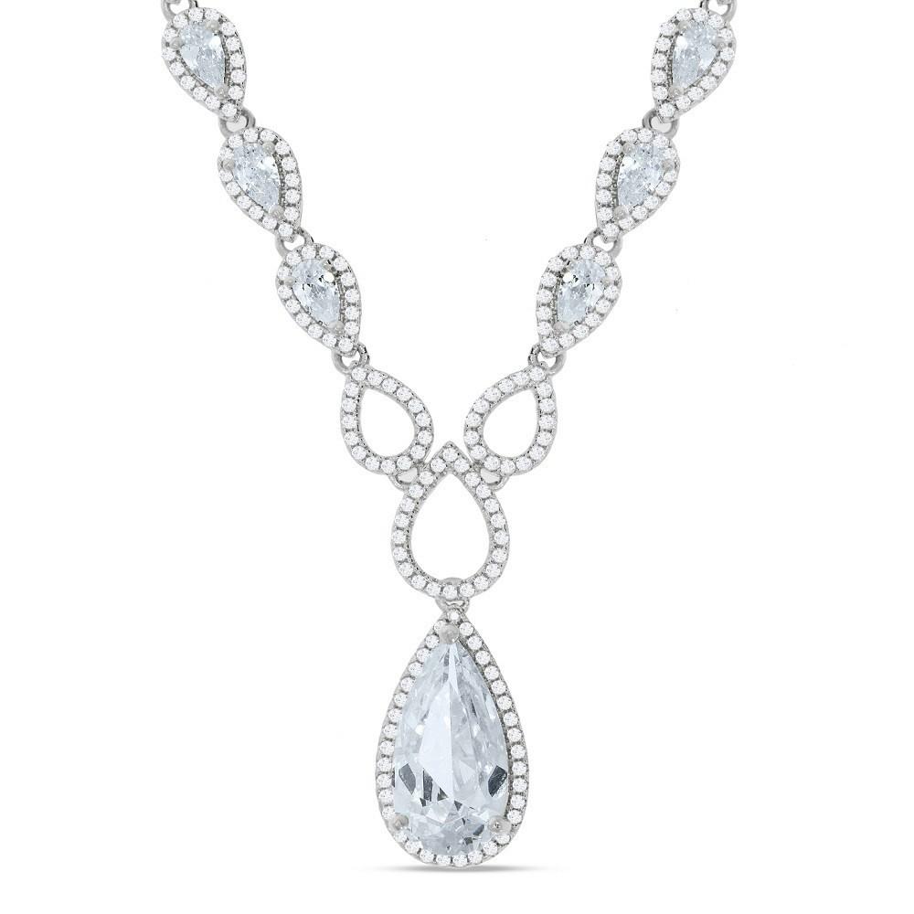 "Silver Pear Shaped Drop Set Cz's Necklace 18"""