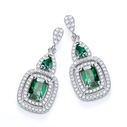 Selling: Micro Pave' Fancy Drop with Green Cz's