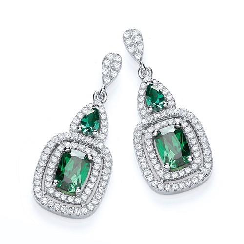Micro Pave' Fancy Drop with Green Cz's