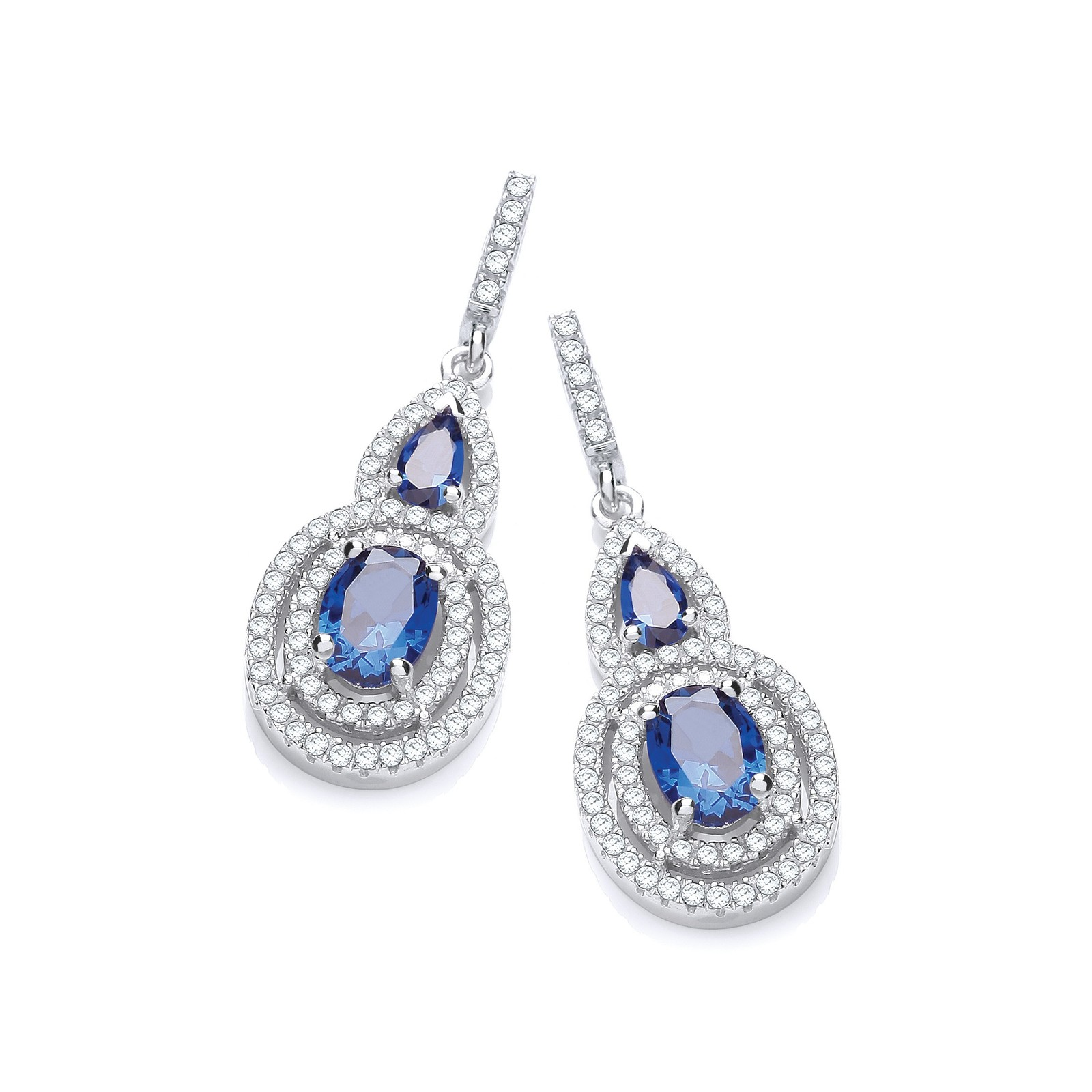 Micro Pave' Sapphire & White CZ Drop Earrings