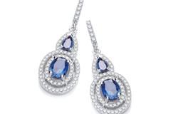Micro Pave' Sapphire & White CZ Drop Earrings