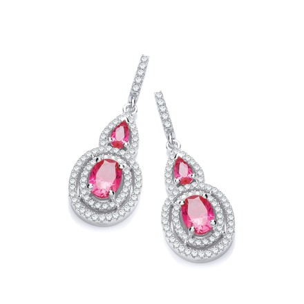 Selling: Micro Pave' Red & White CZ Drop Earrings