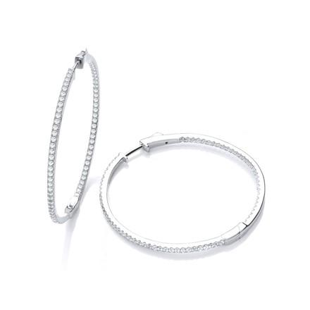 Selling: Micro Pave' Big Round Hoop Cz Earrings