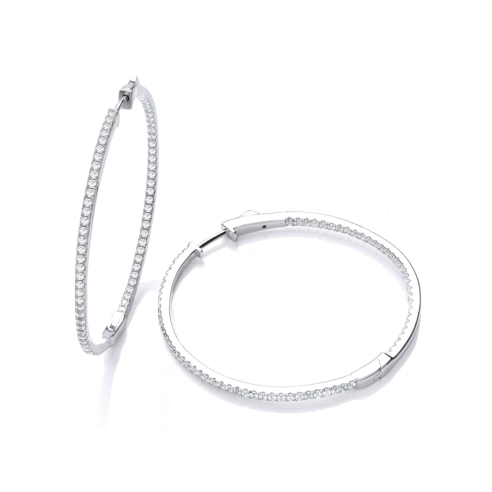 Micro Pave' Big Round Hoop Cz Earrings