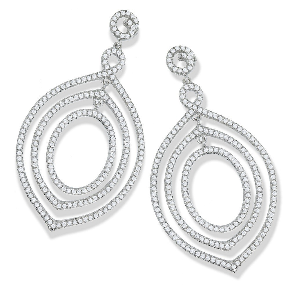 Micro Pave Fancy Drop Cz Earrings