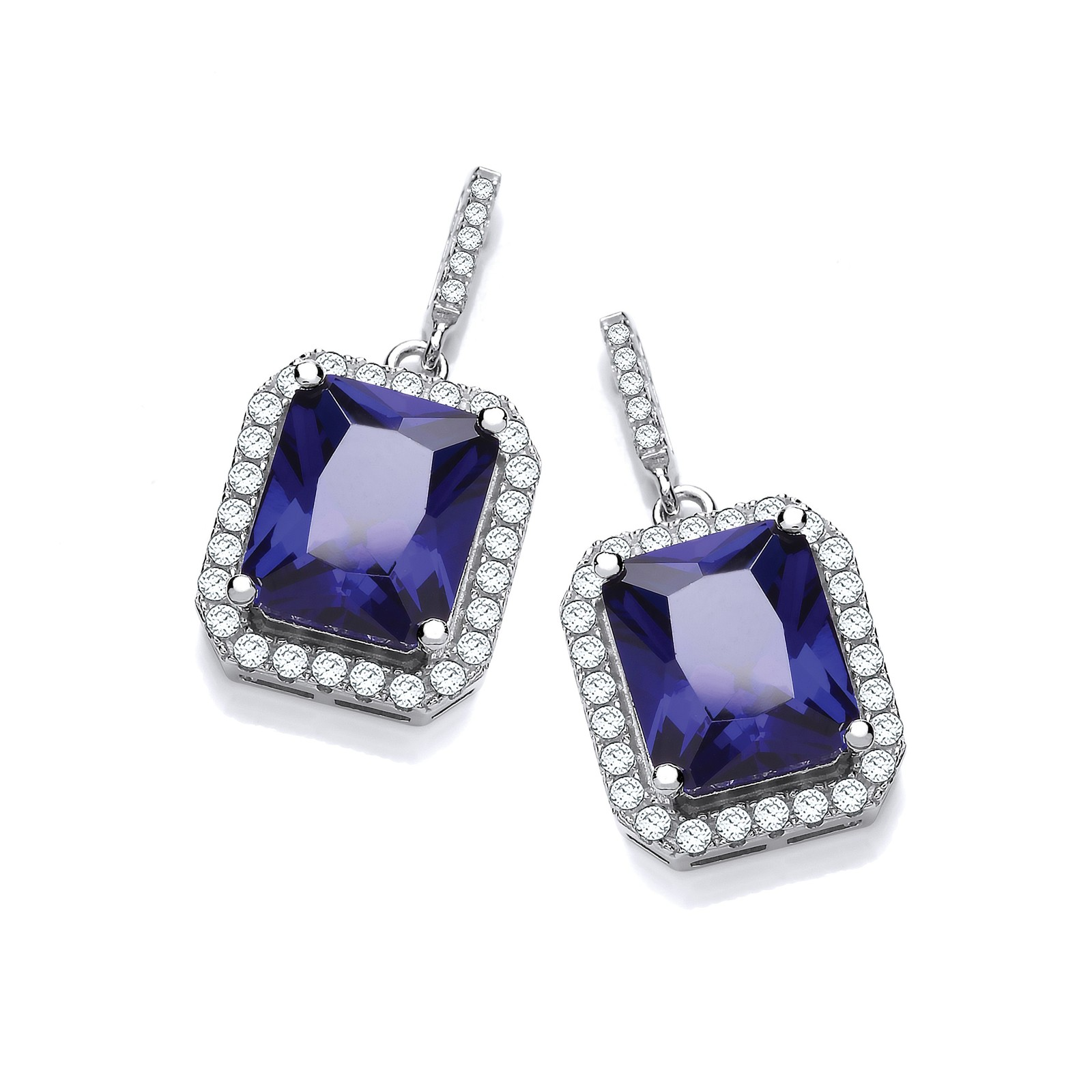 Micro Pave Emerald Cut Sappire Blue Cz Drop Earrings