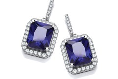 Selling: Micro Pave Emerald Cut Sappire Blue Cz Drop Earrings