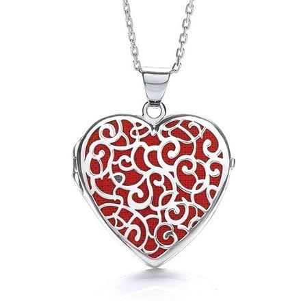 Heart Shape Red Background Fancy Locket