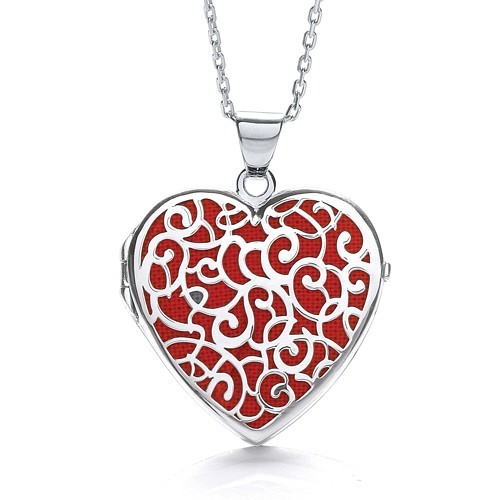 Heart Shape Red Background Fancy Locket