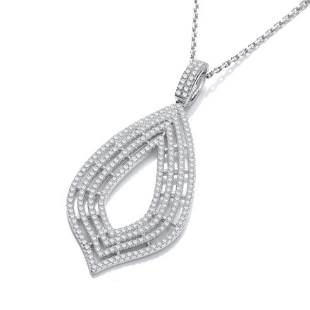 "Micro Pave' Cz Large Drop Pendant with 18"" Chain"