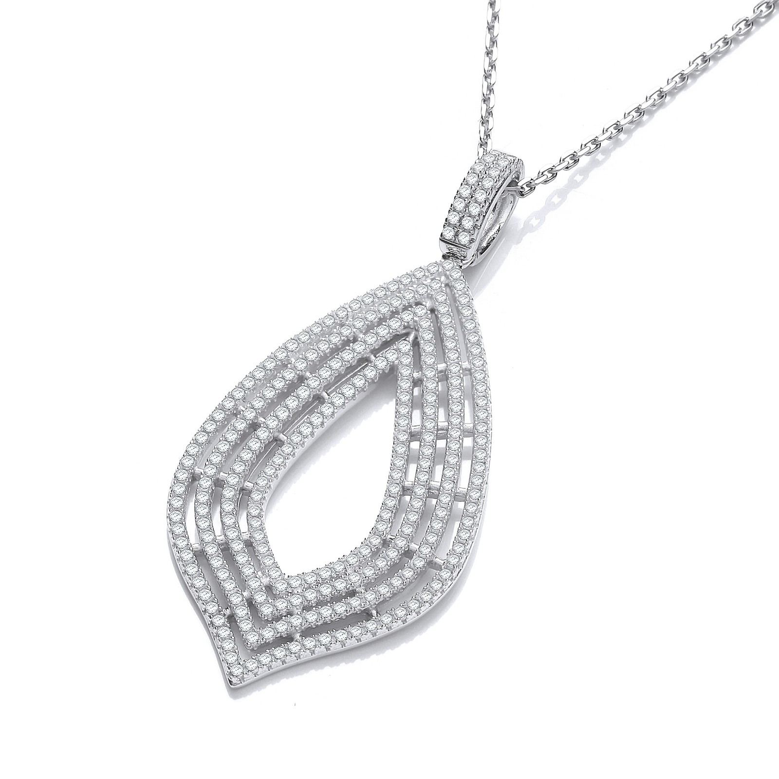 """Micro Pave' Cz Large Drop Pendant with 18"""" Chain"""