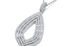 """Selling: Micro Pave' Cz Large Drop Pendant with 18"""" Chain"""